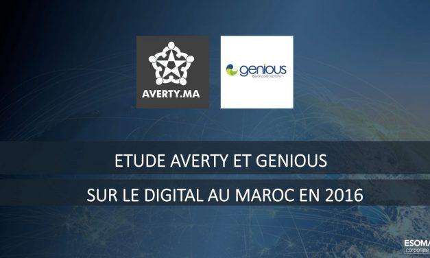 Résultats de l'étude Averty et Genious Communication sur le digital au Maroc en 2016